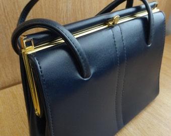 Vintage Navy Blue 1950's Kelly Style Handbag - Lovely!!