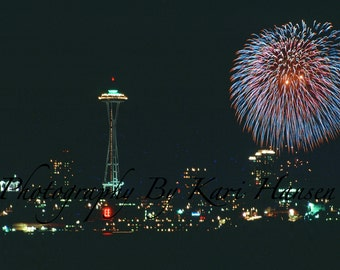 Fine Art Photography Independence Day 4th Of July Seattle Skyline Night Photography
