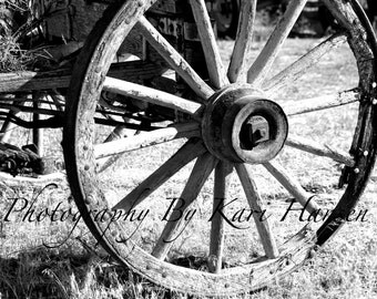 Black and White Antique Wagon Wheel Fine Art Photography Rustic Wall Art