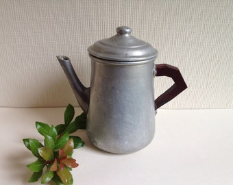 Vintage aluminium coffee pot with lid from Italy