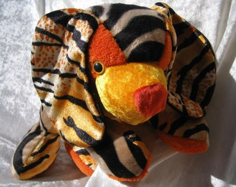 FIREFLY SPANIEL plush, stuffed ANTELOPE puppy, soft toy Tiger puppy, handmade antelope dog toy, unique firefly puppy, orange zebra spaniel