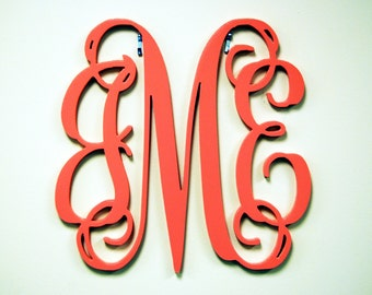 "24"" PAINTED Wood Monogram Initials, Wall Decor, Hanging Wooden Wall Letters, Wedding, Office Decor Painted Housewares Home Decor"
