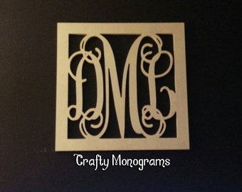 "28"" Painted Wooden Monogram, Wood Monogram with Square Border, Nursery Decor, Monogram Wall Hanging, Wooden Iniatials, Monogram Letters"