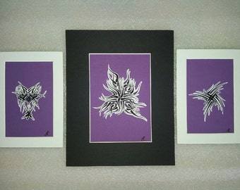 Triptic Pen Drawing: 3 piece, Tribal Print Wall Art