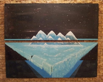 Diptic Pastel Painting: Waterfall and snow covered mountains in space