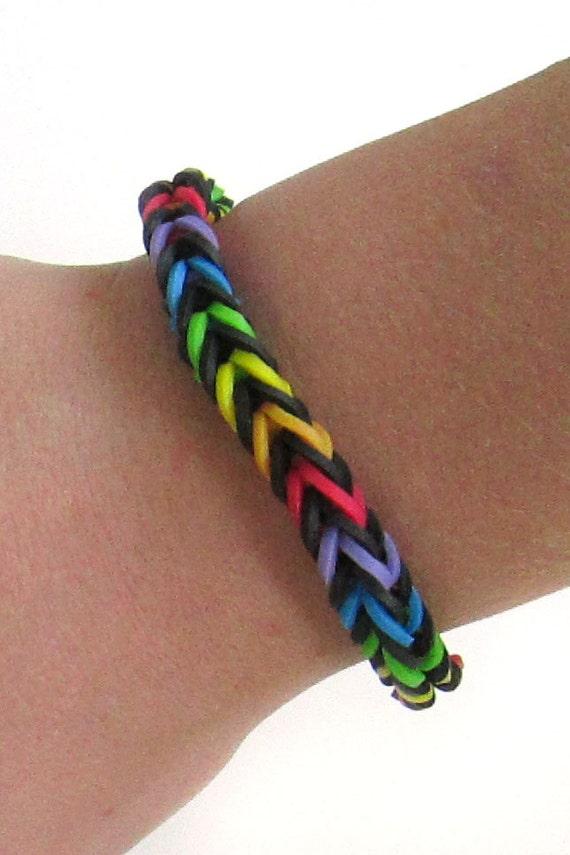 Items similar to Rainbow Loom Bracelet Black With Rainbow ...