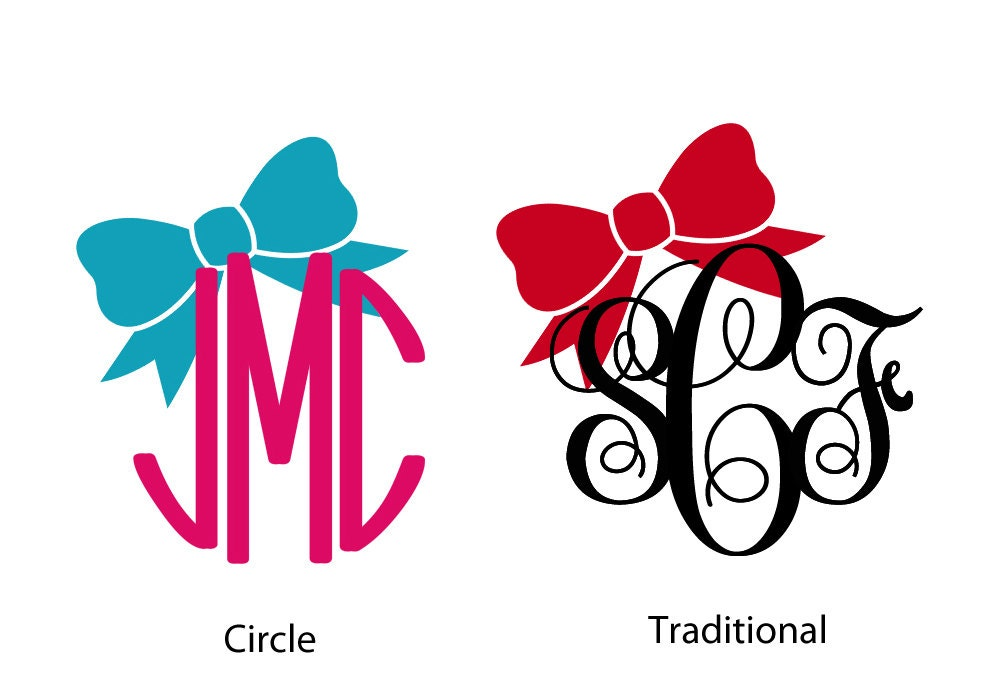 Monogram Car Decal Bow Vinyl Decal Sticker With - Monogram car decal sticker