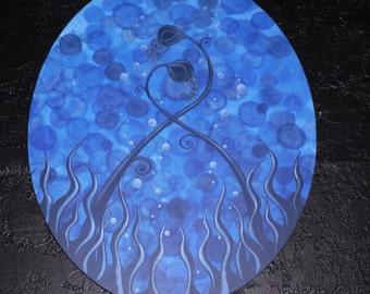 "SALE Underwater Blues original acrylic painting 16x20"" oval premier canvas blues blacks flowers"