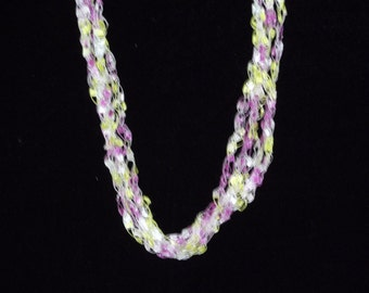 Yellow, Pink, and White Ladder Trellis Yarn Necklace