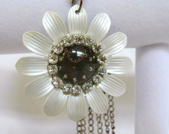 Steampunk inspired Daisy Clock Pendant With Triple Bronze Chain