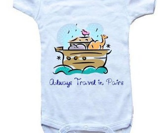 Baby One-Piece Bodysuit-Personalized Gifts-Christian Baby Gifts-Always Travel In Pairs -White, Blue or Pink