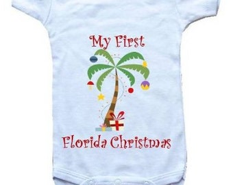 Baby One-Piece- Personalized Gifts-My First Florida Christmas - White, Blue or Pink Baby T-shirt