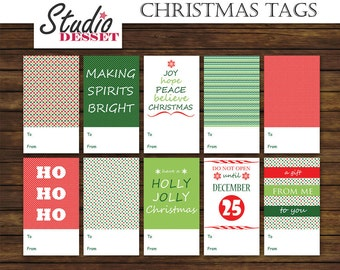 Christmas Tags, Printable Holiday Labels, Packaging Gifts in Red and Green, 10 Tags Instant Download