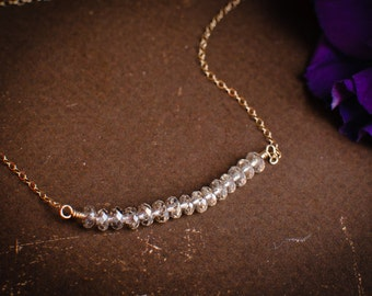 Carrie Bradshaw Necklace - Sparkly Beaded Bar Necklace For Bridesmaids - Bridal Party Gift