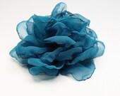 Barrette de turquoise fleur - Rose à la main pour les cheveux - fleur - Rose Turquoise