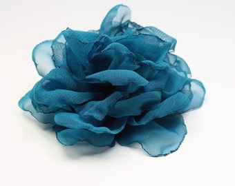 Turquoise  Flower - Handmade Rose for Hair - Flower Hairclip -  Turquoise Rose