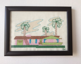 Mid Century Tropical Ranch House Cross Stitch