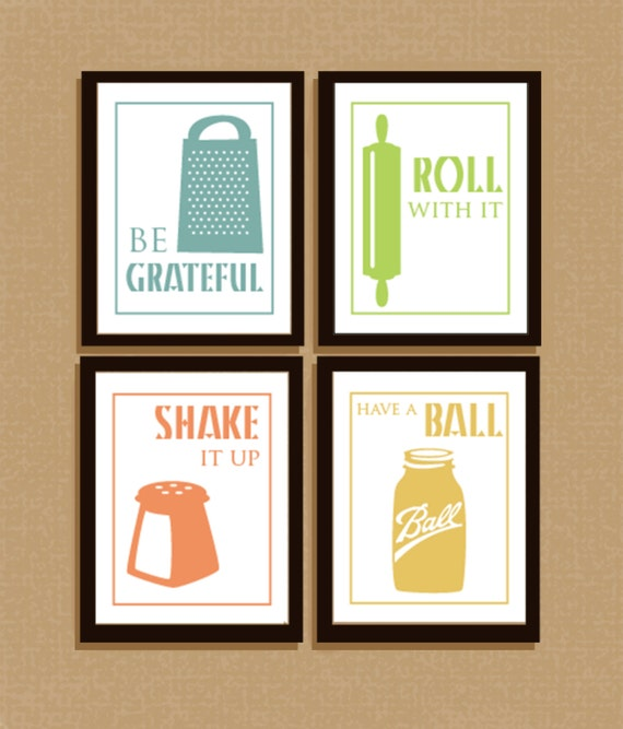 Like this item?  sc 1 st  Etsy & Set of 4 clever illustrated kitchen sayings