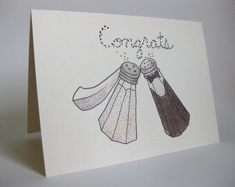 Wedding Greeting Card - Handmade and printed from original ink and gouache illustration