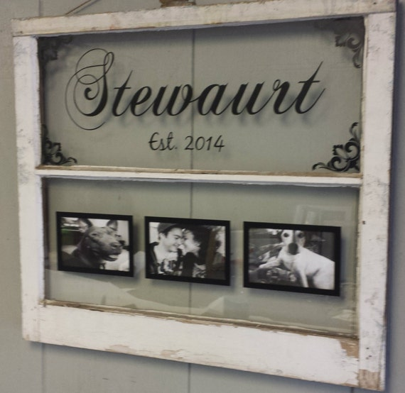 Vintage window two pane family name personalized picture for Home decor names