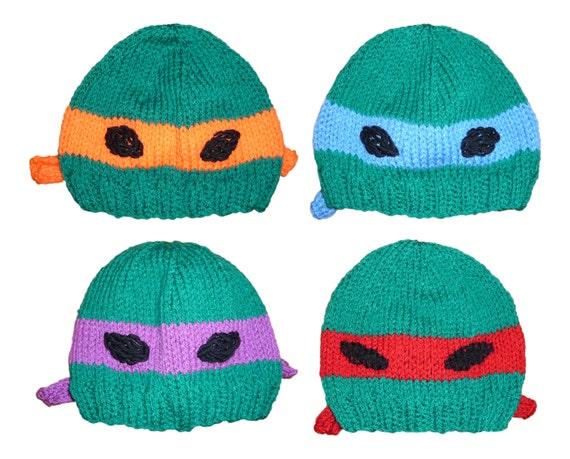 Knitting Pattern For Teenage Mutant Ninja Turtles : Teenage Mutant Ninja Turtle Hat Knitting by MothyAndTheSquid