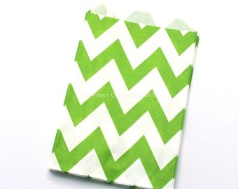 Chevron Favor Bags, 12 Lime Chevron Gift Bags, Popcorn Bags, Cookie Bag, Candy Buffet Bags, Candy Bag, Wedding, Baby Shower, Birthday Favor