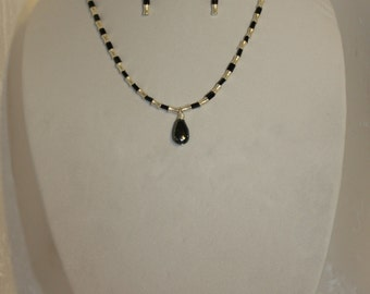 Silver Black Necklace and Earing Set with Black Agate Pendant