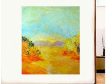"ORIGINAL ARTWORK Mid Century Modern 30"" X 40"" Mixed Media Impressionist Landscape"