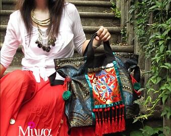 Miya's Original Ethnic Hmong Embroidered Bag  Purse Shoulderbag - Ruby