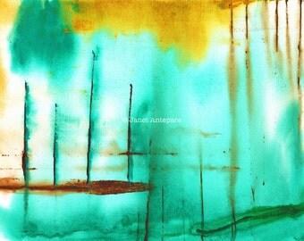 Piers Fine Art Print. Abstract Art, Modern Art, Nautical Art, Green Wall Art, Green Watercolor Painting