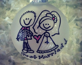 Newlyweds Just Married Christmas Ornament Personalized