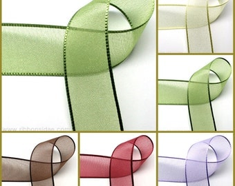 50yd 15,25,40mm Pearl Organza Ribbon  for gift wrapping, party favors, Christmas wrapping 20 Colors  15,25,40mmX45M