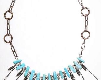 Turquoise tribal statement necklace