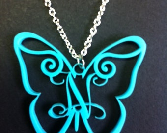 Personalized Butterfly Monogram Necklace Pendant