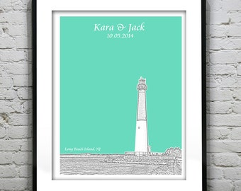 Long Beach Island NJ Wedding Gift Guest Book Guestbook Personalized Poster Print -New Jersey NJ