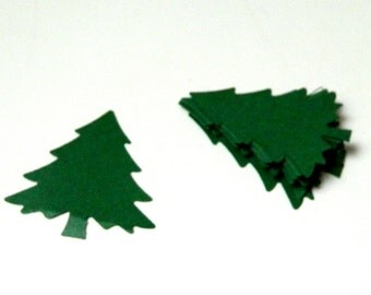 Christmas Tree Die Cut: Paper embellishments Evergreen tree hand punched tags 2 inch tag choose from 20+ colors 12, 25, or 50 count DIY