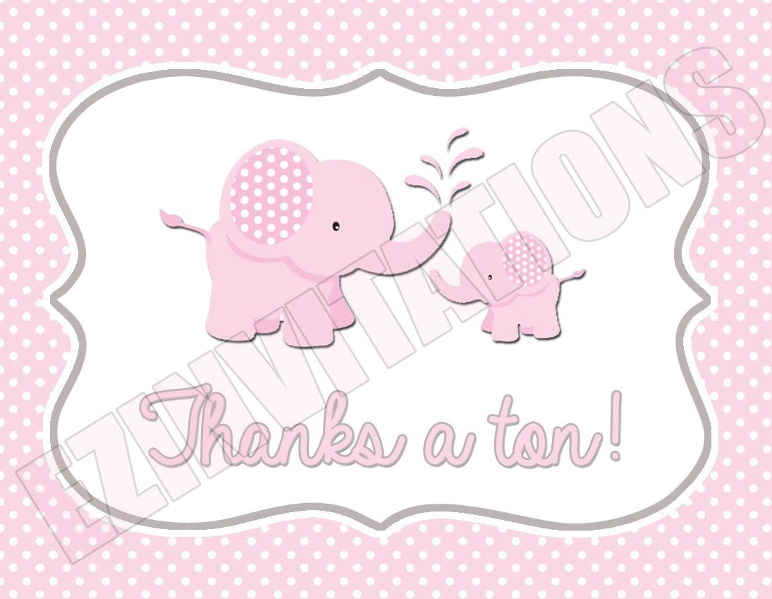pink and grey elephant baby shower thank you digital