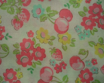 """1/2 Yard of Lecien Old New 30"""" Collection. Floral, Strawberry and Cherry on Off White Background. Approx. 18"""" x 44""""   Made in Japan"""