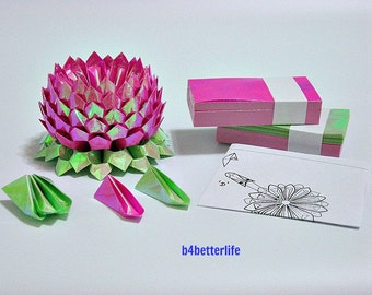 A Medium Size Violet Red Origami Lotus plus 300 sheets of DIY Paper Folding Kit. (AV Paper Series).