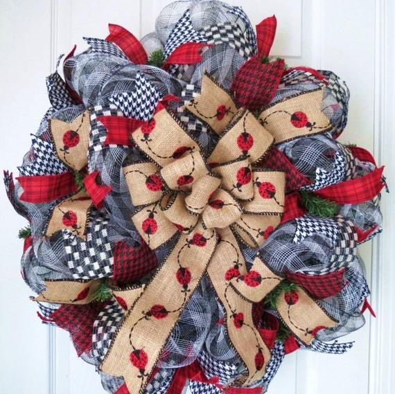 Red And Black Ladybug Deco Mesh Wreath Burlap Wreath Ladybug