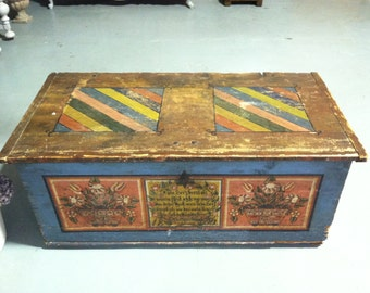 Antique German Painted Dowry / Blanket Chest PRICE REDUCED