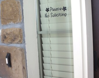 Please No Soliciting Sign With Flowers, No Soliciting Vinyl Sign, No Soliciting Decal, Window, Custom Soliciting Sign, No Solicitation Sign,
