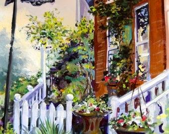 "Dr. Dobson's House B & B, St. Michaels, MD, Original Acrylic Painting, 16"" X 20"""