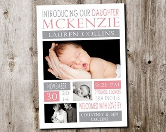 Custom baby girl birth announcement - printable digital file