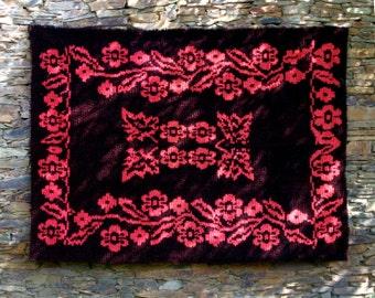 Vintage Authentic Shaggy Wool Rug Floral design orange and vine-red color