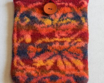 Felted iPad cover knit thick protection coconut shell button rich tapestry-like orange rust coral indigo yellow vines leaves Medieval Leaves