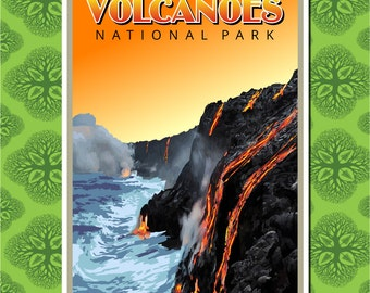 Hawaii Volcanoes National Park Sunset Travel Poster Wall Decor (7 print sizes available)