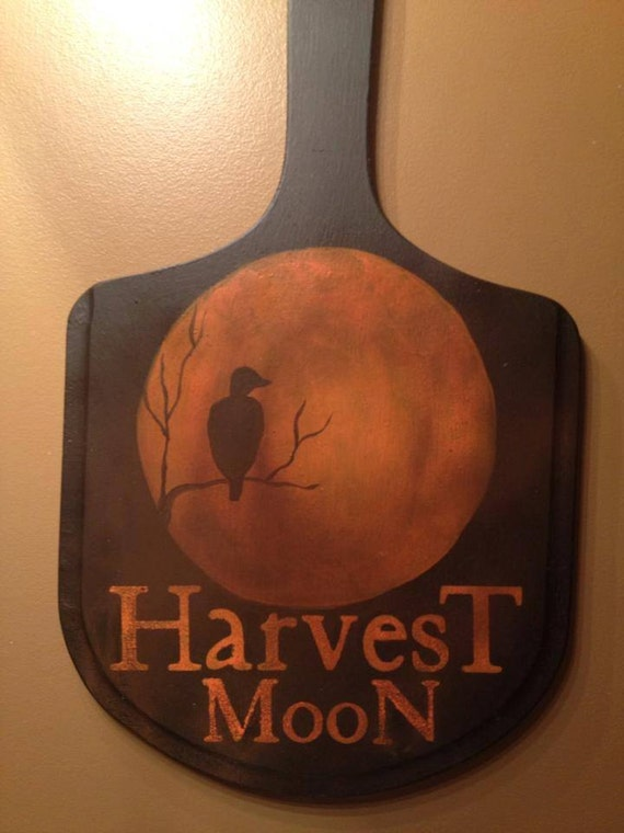 """Harvest Sign On Barnwood For Fall Front Porch Decor: Items Similar To Primitive """"Harvest Moon"""" Hanging Sign On Etsy"""