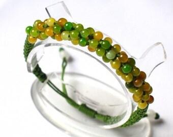 Free S&H - Adjustable Delicately Braided 96 Light Green Yellow Jade Beaded String Bracelet