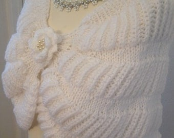 Hand Knit Wedding Shawl / Bride Bolero